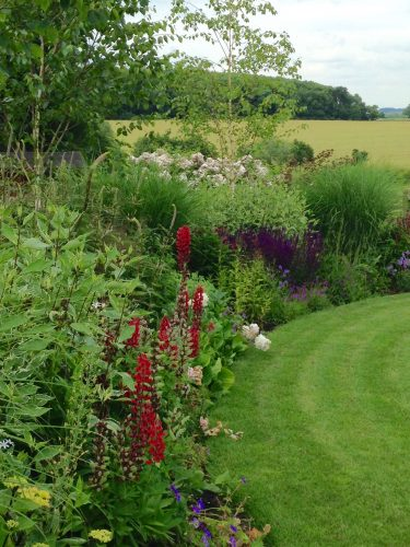 , Rural Garden With Sweeping Borders